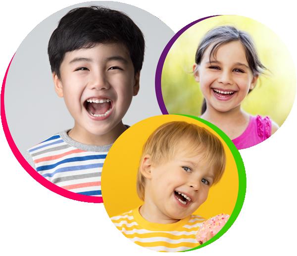three children smiling logo, pediatric dentistry atascocita tx
